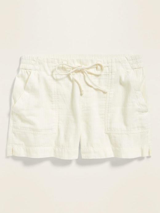 Mid-Rise Soft Twill Pull-On Utility Shorts for Women -- 4-inch inseam