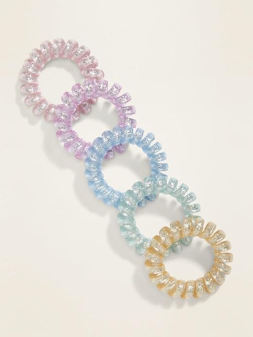 Attaches pour cheveux en spirale iridescentes pour femme (paquet de5)