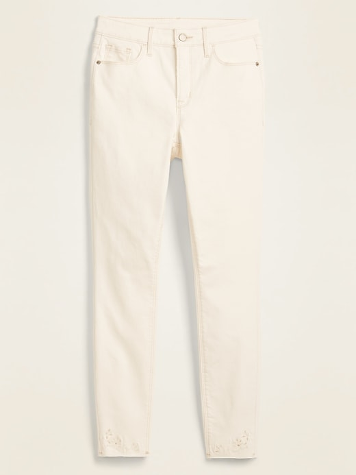High-Waisted Embroidered Cutwork Rockstar Super Skinny Off-White Ankle Jeans for Women