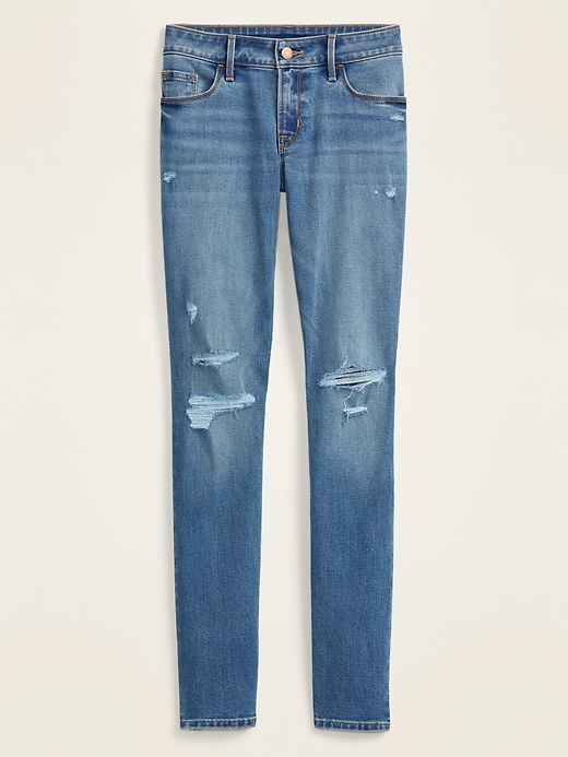 Low-Rise Distressed Pop Icon Skinny Jeans for Women