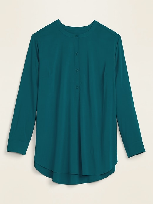 No-Peek Button-Front Plus-Size Popover Stretch Tunic