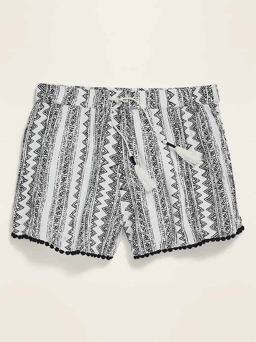 Tulip-Hem Pom-Pom-Trim Shorts for Girls