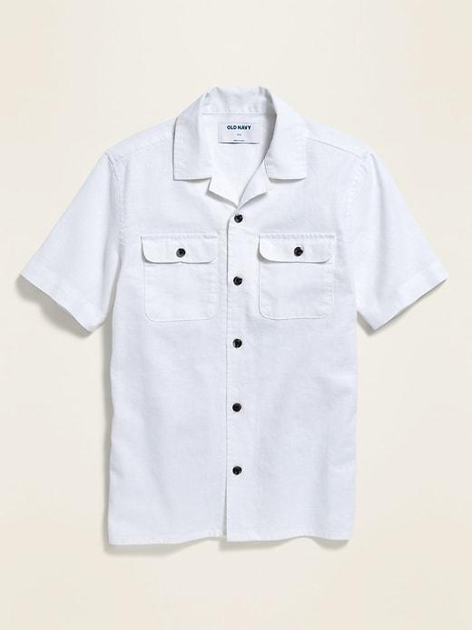 Linen-Blend Utility Camp Shirt for Boys