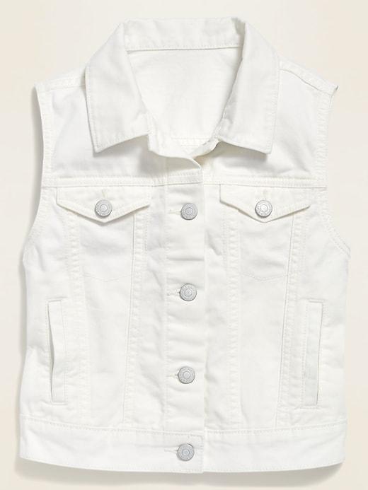 Sleeveless White Jean Trucker Vest for Girls