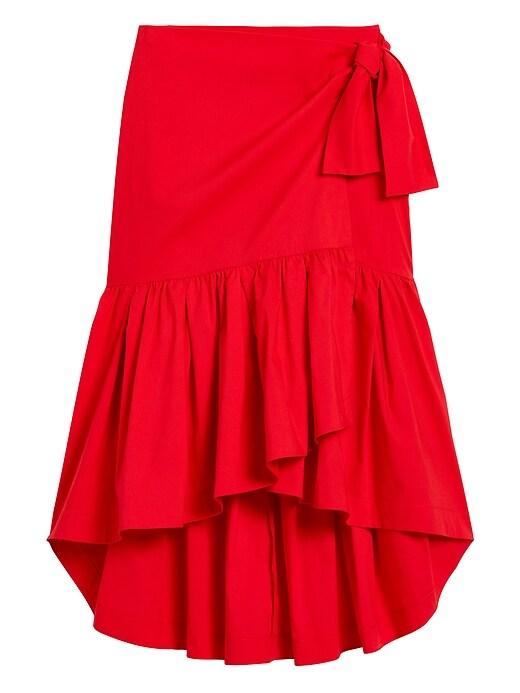 Petite Poplin Ruffle Wrap Skirt
