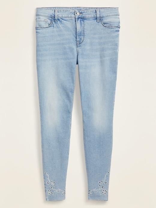 High-Waisted Secret-Slim Pockets Floral-Embroidered Rockstar Super Skinny Plus-Size Jeans