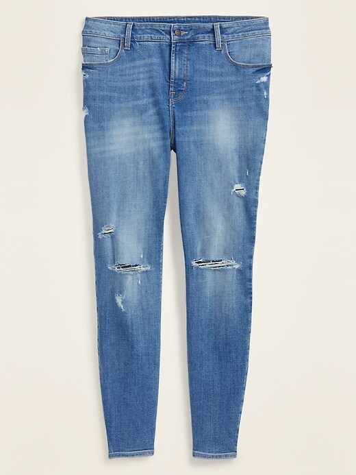 High-Waisted Secret-Slim Pockets Distressed Plus-Size Rockstar Super Skinny Jeans