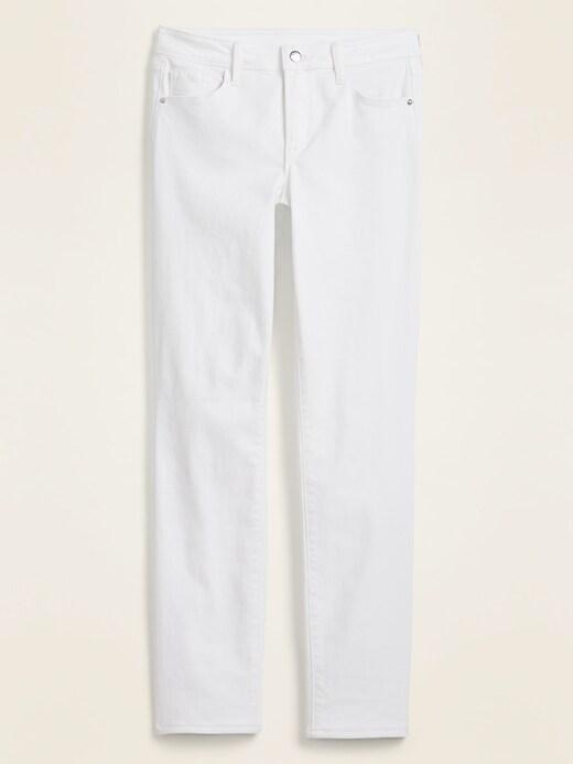 High-Waisted Power Slim Straight White Jeans for Women