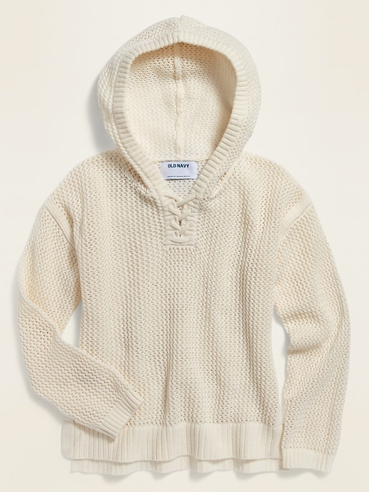 Lace-Up-Yoke Knit Pullover Hoodie for Girls