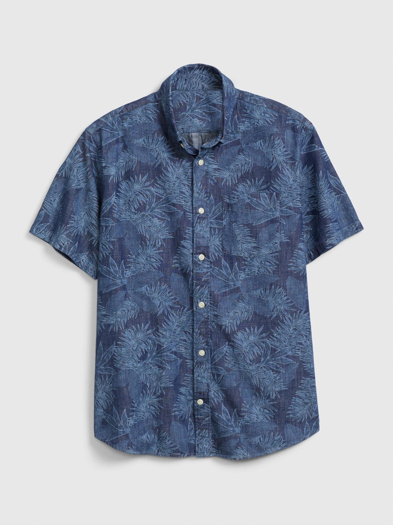 リブイン半袖ポプリンシャツ