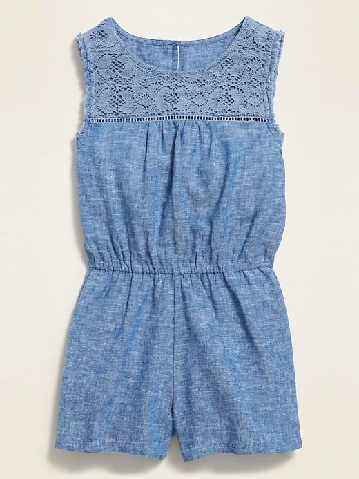 Sleeveless Crochet-Yoke Romper for Girls
