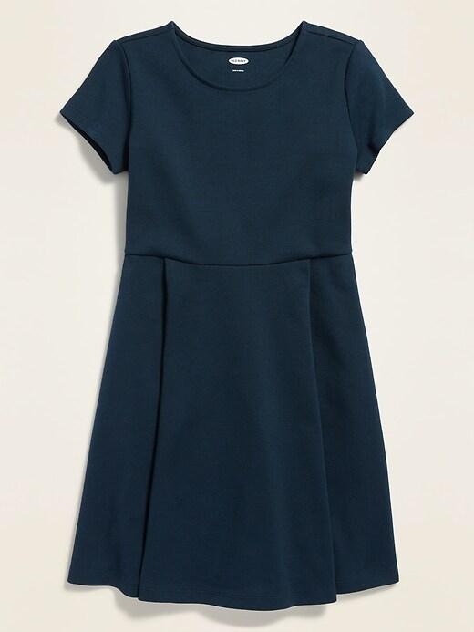 Uniform Short-Sleeve Ponte-Knit Dress for Girls