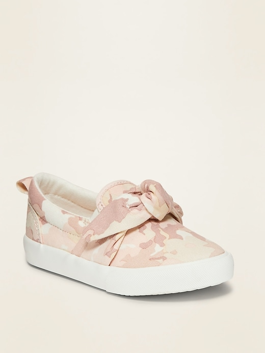 Canvas Bow-Tie Slip-Ons for Toddler Girls