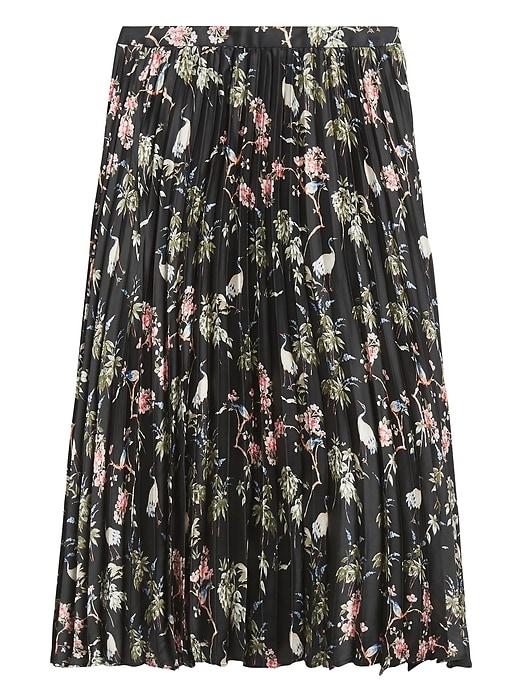 Soft Satin Pleated Midi Skirt