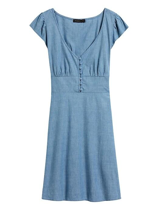 Chambray Button-Front Mini Dress