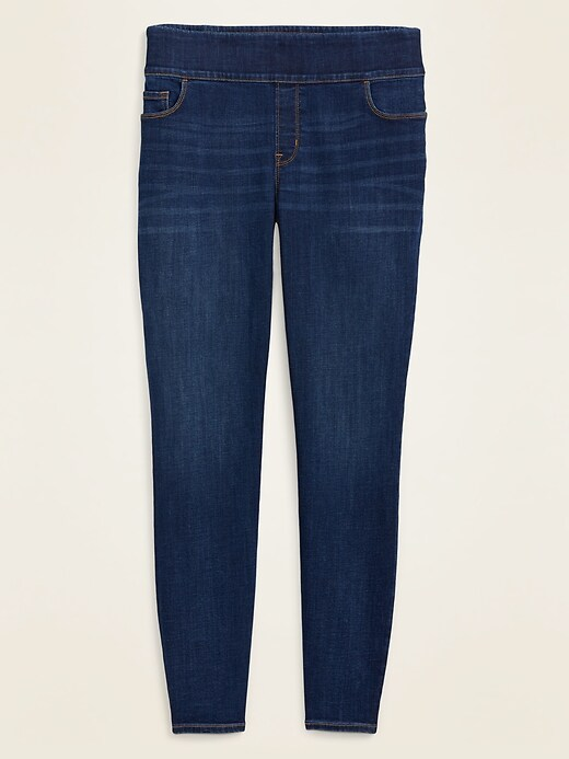 High-Waisted Pull-On Rockstar Plus-Size Super Skinny Jeggings