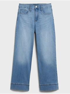bananarepublic Curvy High-Rise Wide-Leg Light Wash Crop Jean