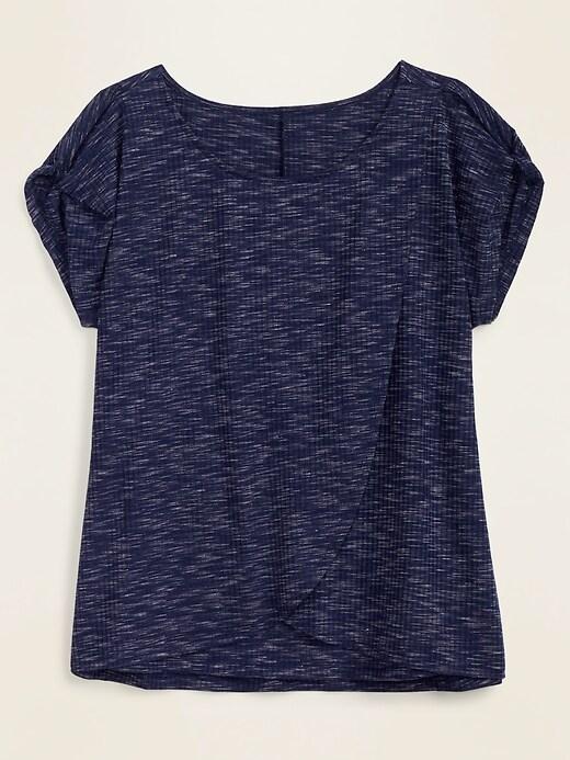 Maternity Rib-Knit Twist-Sleeve Nursing Top