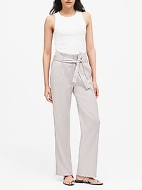 Petite High-Rise Wide-Leg Linen-Cotton Pant