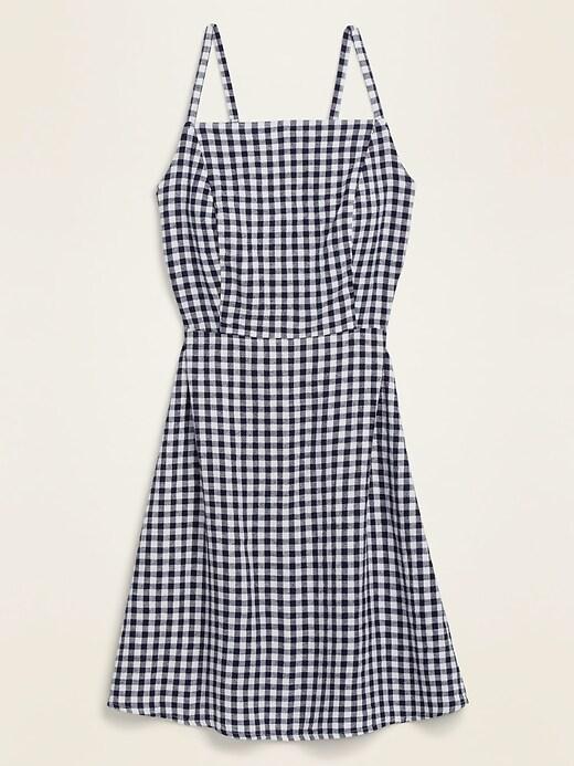 Gingham Linen-Blend Fit & Flare Cami Sundress for Women