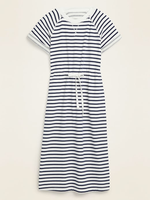 Waist-Defined Striped French Terry Midi Dress for Women
