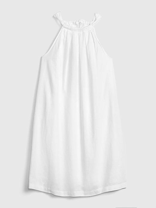Tie-Back Sleeveless Halter Dress in Linen-Cotton