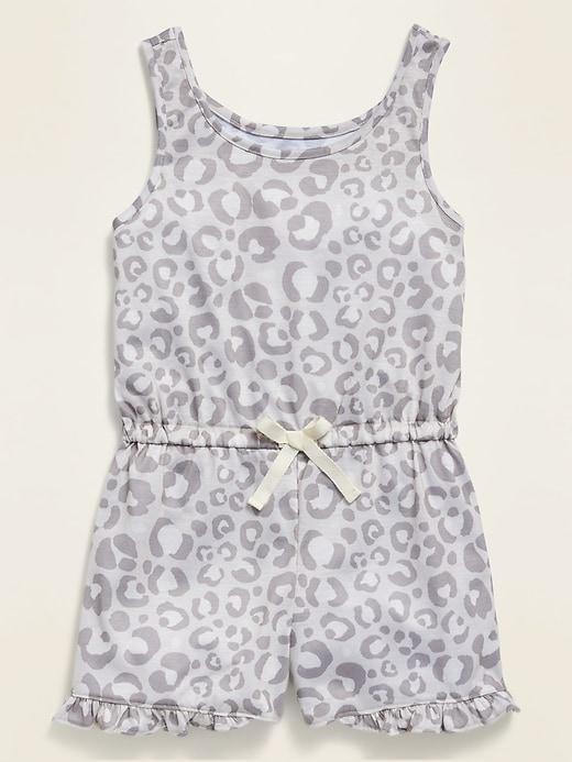 Sleeveless Printed Jersey Pajama Romper for Girls