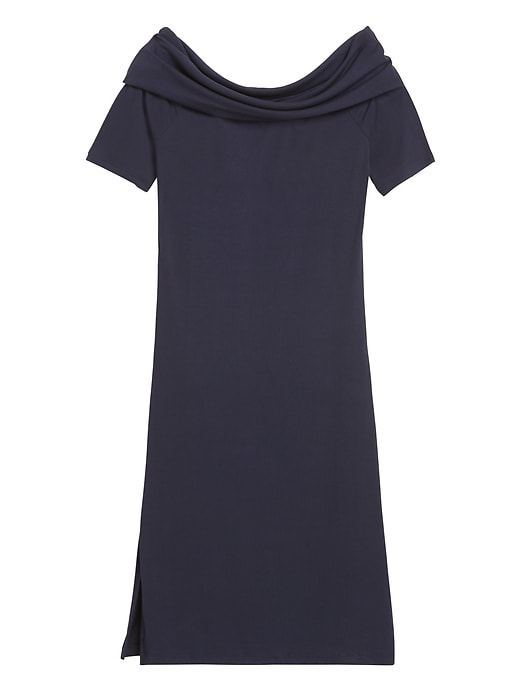 Petite Ribbed Off-the-Shoulder Dress