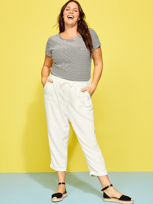 Mid-Rise Soft Twill Plus-Size Utility Pants