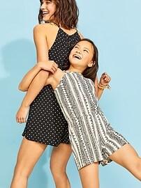 Sleeveless High-Neck Romper for Girls