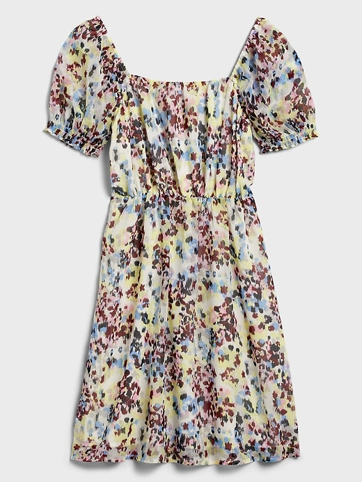 Puff-Sleeve Square-Neck Fit-and-Flare Dress