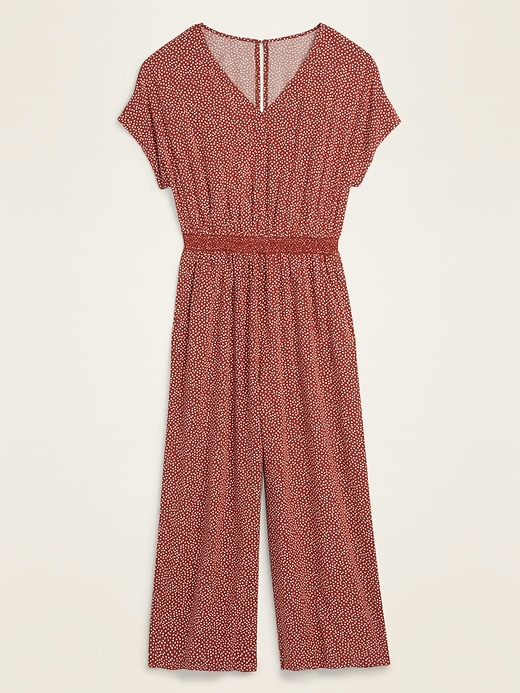 Waist-Defined Soft-Woven V-Neck Jumpsuit for Women