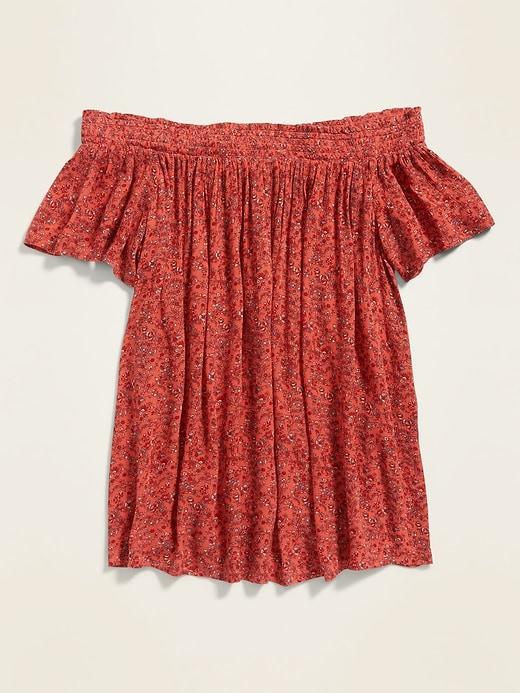 Floral-Print Off-the-Shoulder Crinkle-Crepe Blouse for Women