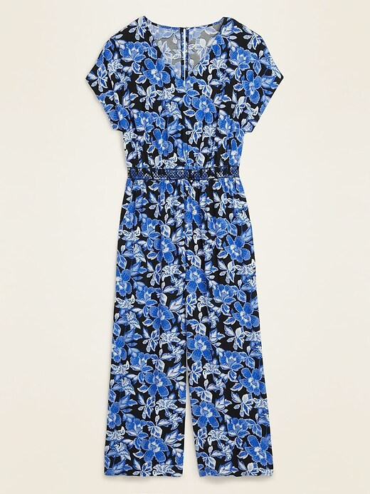 Waist-Defined Soft-Woven V-Neck Jumpsuit for Women