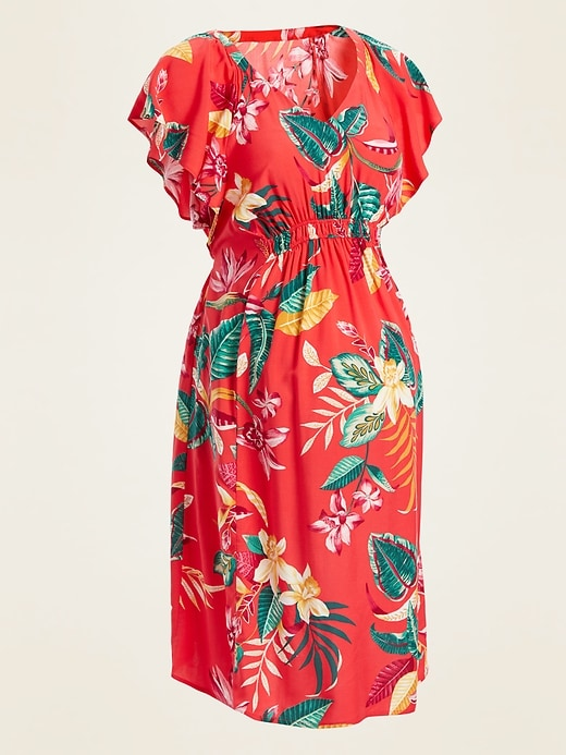 Maternity Printed Ruffle-Sleeve V-Neck Dress