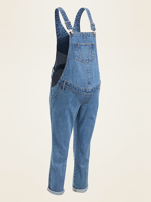 Maternity Side-Panel Boyfriend Jean Overalls