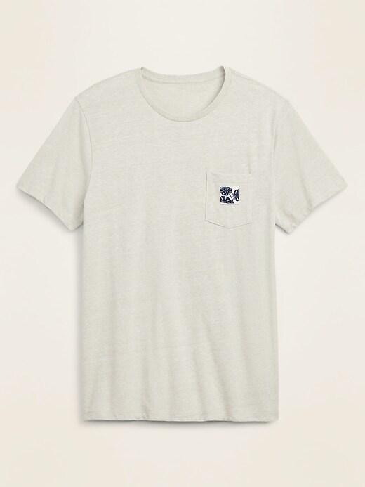 Slub-Knit Graphic-Label Pocket Tee for Men