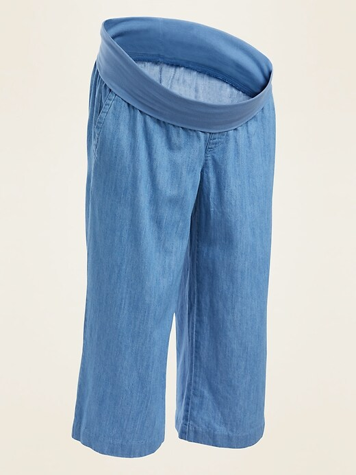 Maternity Rollover-Waist Chambray Culotte Pants