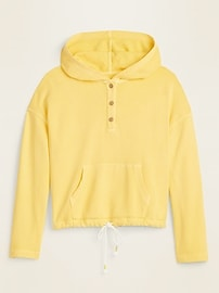 Garment-Dyed French Terry Henley Hoodie for Women