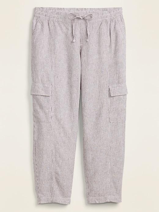 Mid-Rise Pinstriped Linen-Blend Cargo Pants for Women