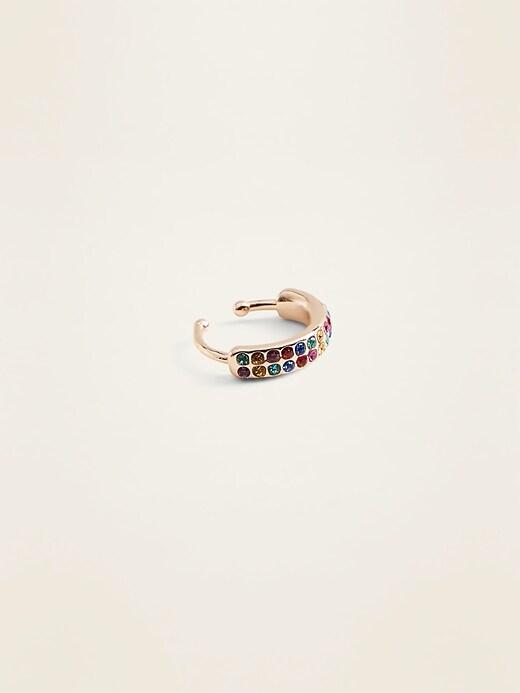 Multi-Color Rhinestone Hoop Huggie Earrings for Women