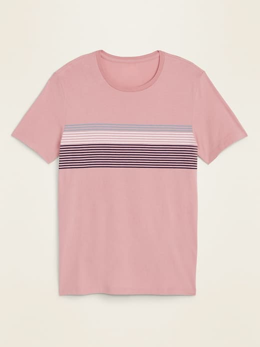 Soft-Washed Gradient-Stripe Crew-Neck Tee for Men
