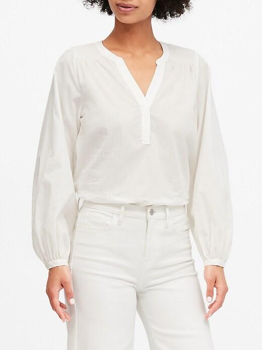 Cotton Balloon-Sleeve Top