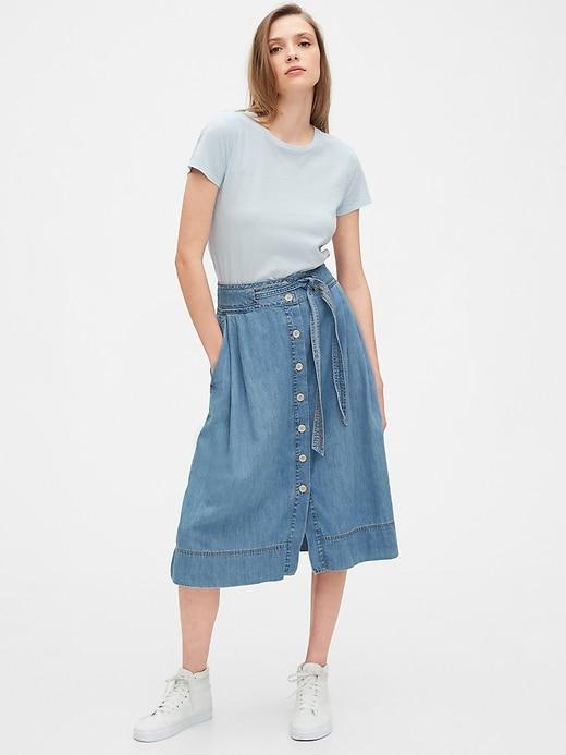 Button-Front Denim Midi Skirt