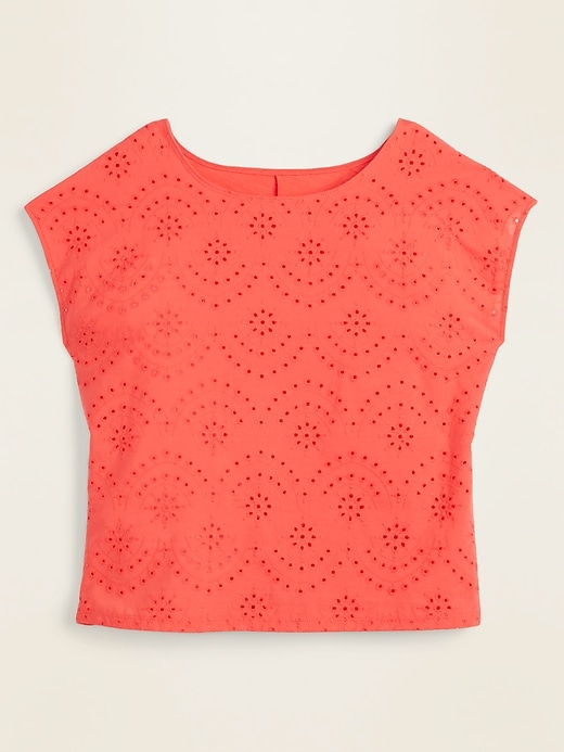 Eyelet-Front Dolman-Sleeve Top for Women