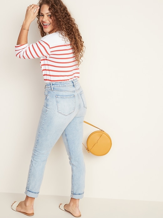 High-Waisted Power Slim Straight Jeans For Women
