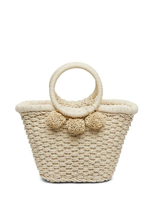 Pom Pom Straw Bucket Bag