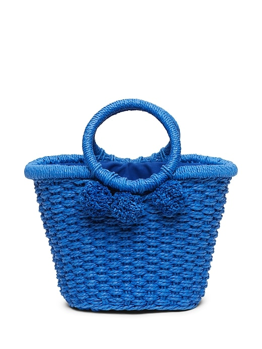 Pom Pom Straw Bucket Bag