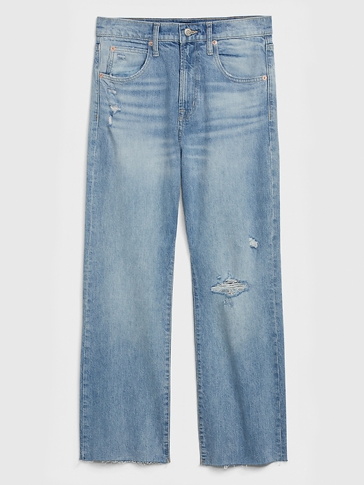 High Rise Destructed Crop Ankle Flare Jeans
