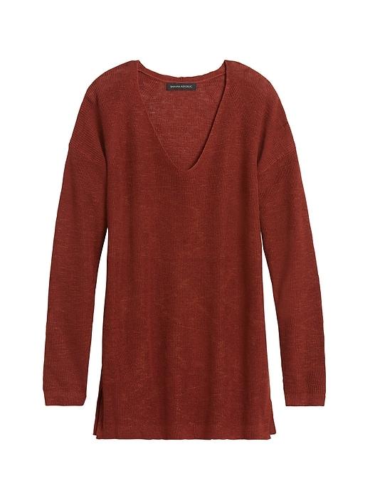 Linen-Blend Sweater Tunic